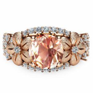 14K Rose Gold Morganite Engagement Ring Rose Gold Engagement Ring Morganite Engagement Ring Unique Engagement Ring