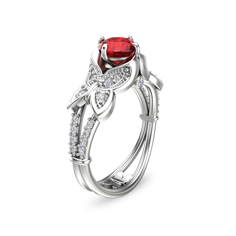 Butterfly Design Ruby Engagement Ring 14K White Gold Natural Ruby Ring Unique Engagement Ring