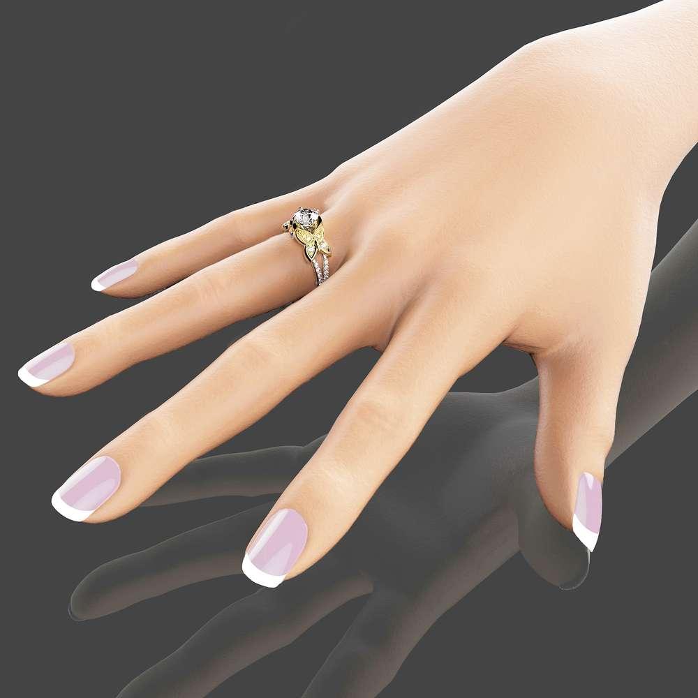 Butterfly Design Moissanite Engagement Ring 14K Two Tone Gold Moissanite Ring Unique Engagement Ring