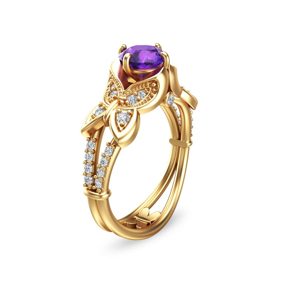 14K Yellow Gold Amethyst Engagement Ring Unique Amethyst Anniversary Ring Butterfly Engagement Ring
