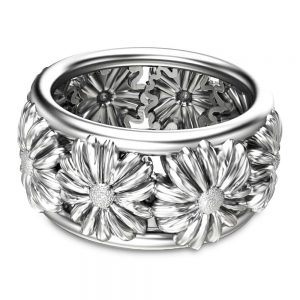 14K White Gold Flower Ring Art Deco Wedding Band Anniversary Solid Gold Band Unique Wedding Ring