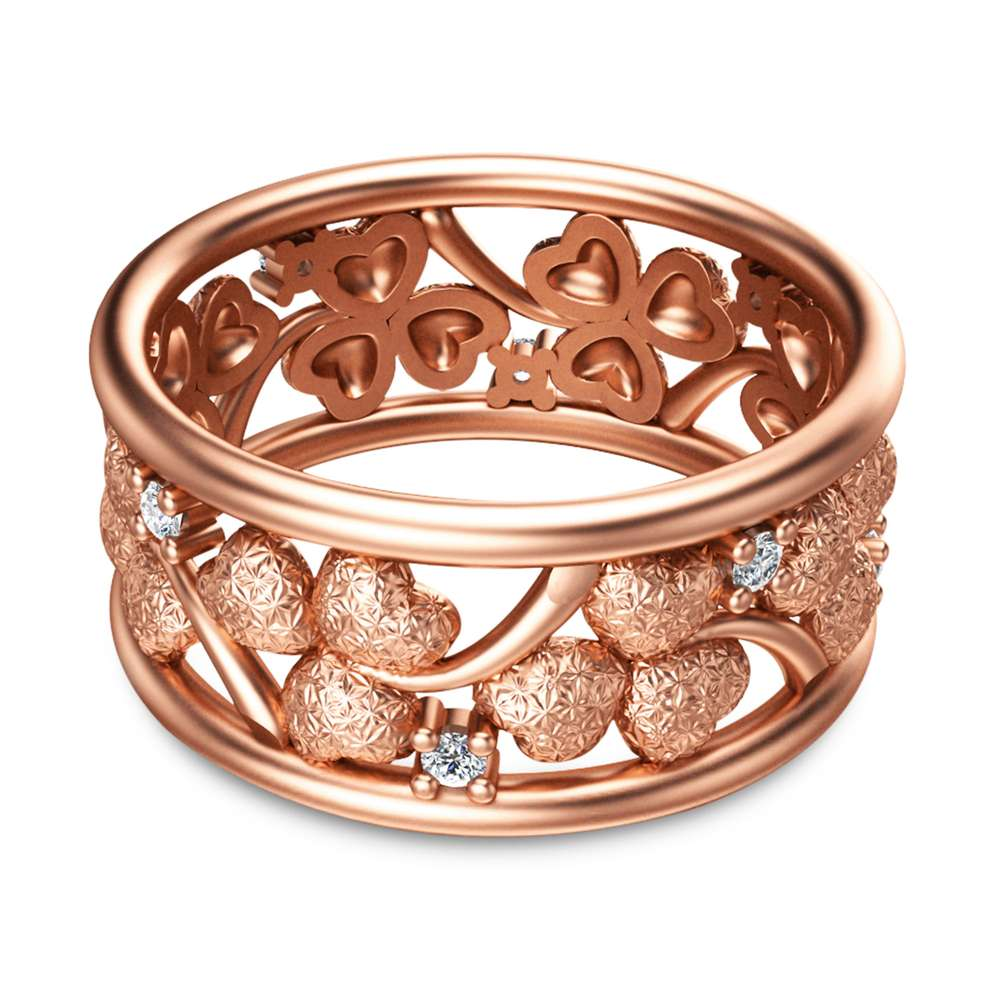 14K Rose Gold Anniversary Ring Clover Design Promise Ring Unique Diamond Eternity Band Art Deco Anniversary Ring Wedding Anniversary Gift