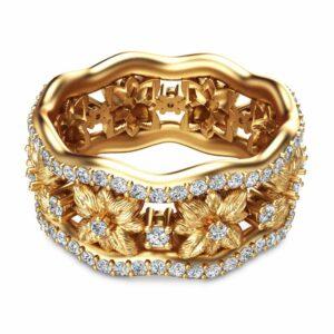 Flower Design Anniversary Ring 14K Yellow Gold Diamond Anniversay Ring Flower Anniversary Band
