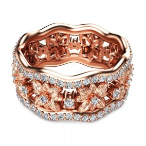 14K Rose Gold Diamond Anniversary Ring Flower Ring Unique Anniversary Ring