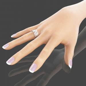 Unique Leaf Design Wedding Ring 14K White Gold Wedding Band Art Deco Ring Filigree Wedding Ring