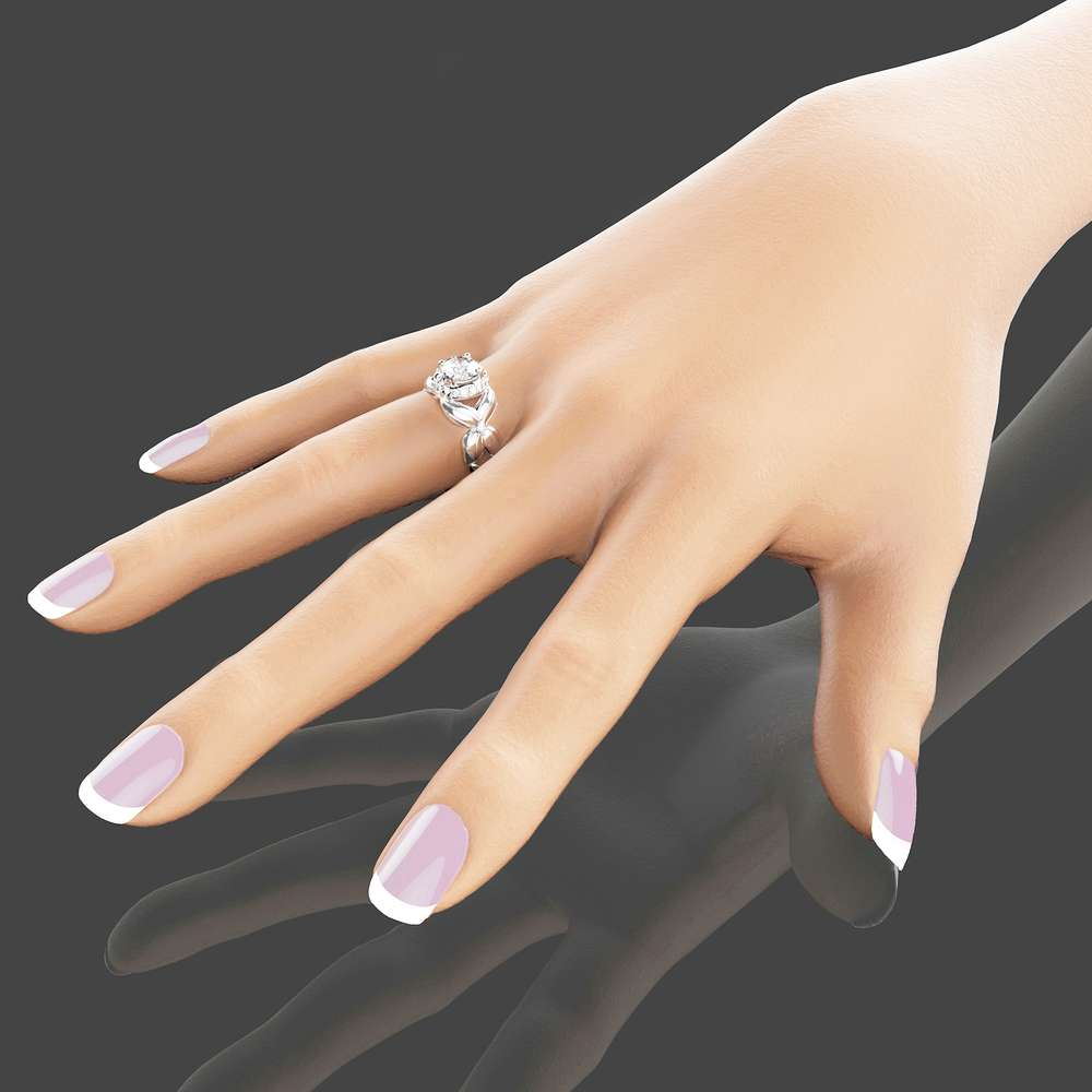14K White Gold Moissanite Ring Unique Engagement Ring Flower Moissanite Ring