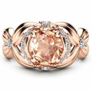 Flower Design Morganite Engagement Ring 14K Rose Gold Morganite Ring Unique Floral Ring Art Deco Halo Ring Gemstone Engagement Ring