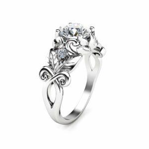 14K White Gold Moissanite Engagement Ring Leaf Engagement Ring Unique Moissanite Ring