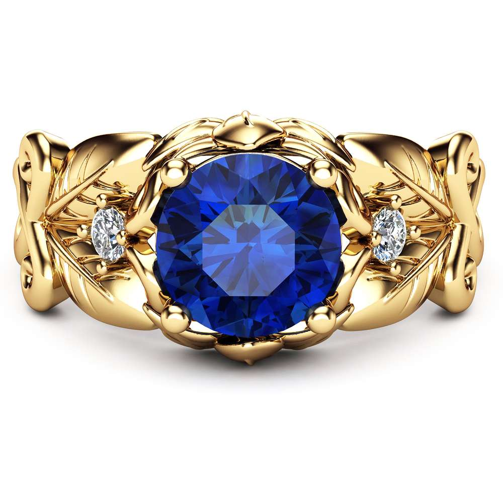 Blue Sapphire Wedding Engagement Ring 14K Yellow Gold Sapphire Ring Unique Wedding Engagement Ring