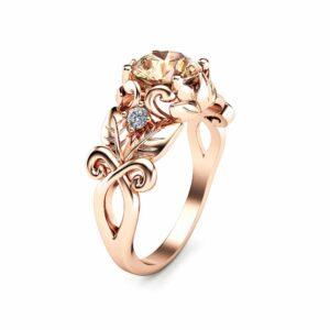 Handmade Rose Gold Morganite Engagement Ring Unique 14K Gold Morganite Ring Rose Gold Leaf Engagement Ring