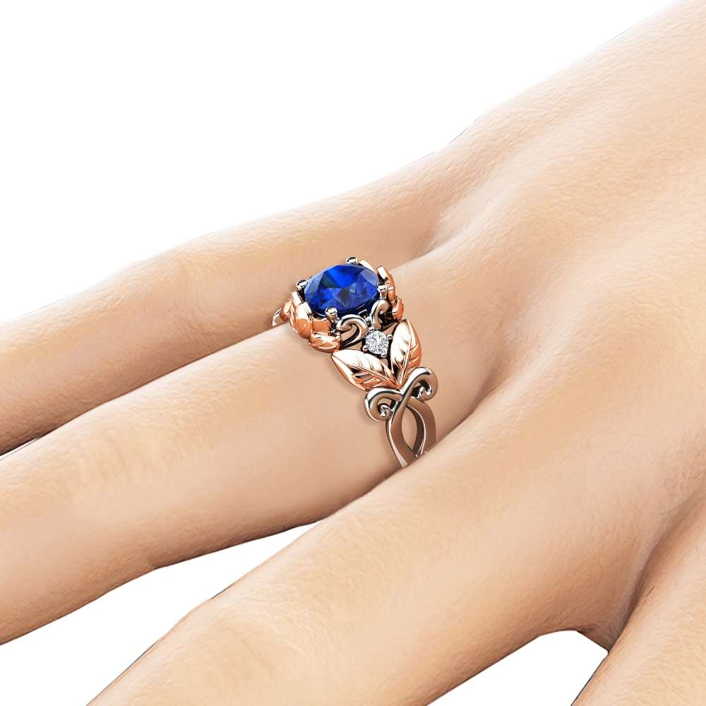 Blue Sapphire Engagement Ring 14K Two Tone Gold Sapphire Ring Leaf Design Engagement Ring