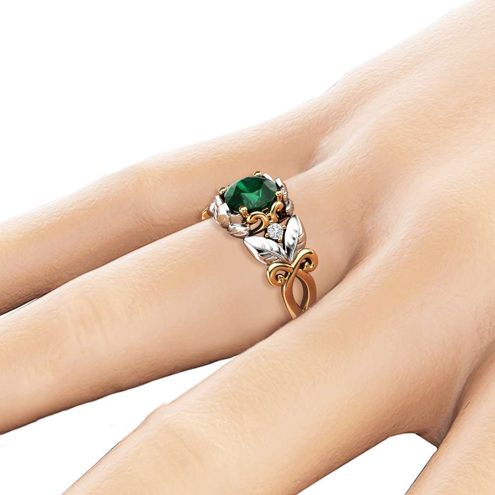 Emerald Leaf Engagement Ring 14K Two Tone Gold Emerald Ring Leaf Design Engagement Ring