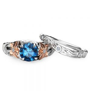 Branch Engagement Ring in 14K White Gold London Blue Topaz Engagement Ring Rose Gold Flower Rings