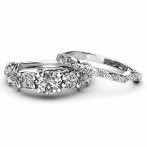 Three Stone Moissanite Engagement Ring Set 14K White Gold Moissanite Ring Flower Engagement Ring with Matching Diamond Band