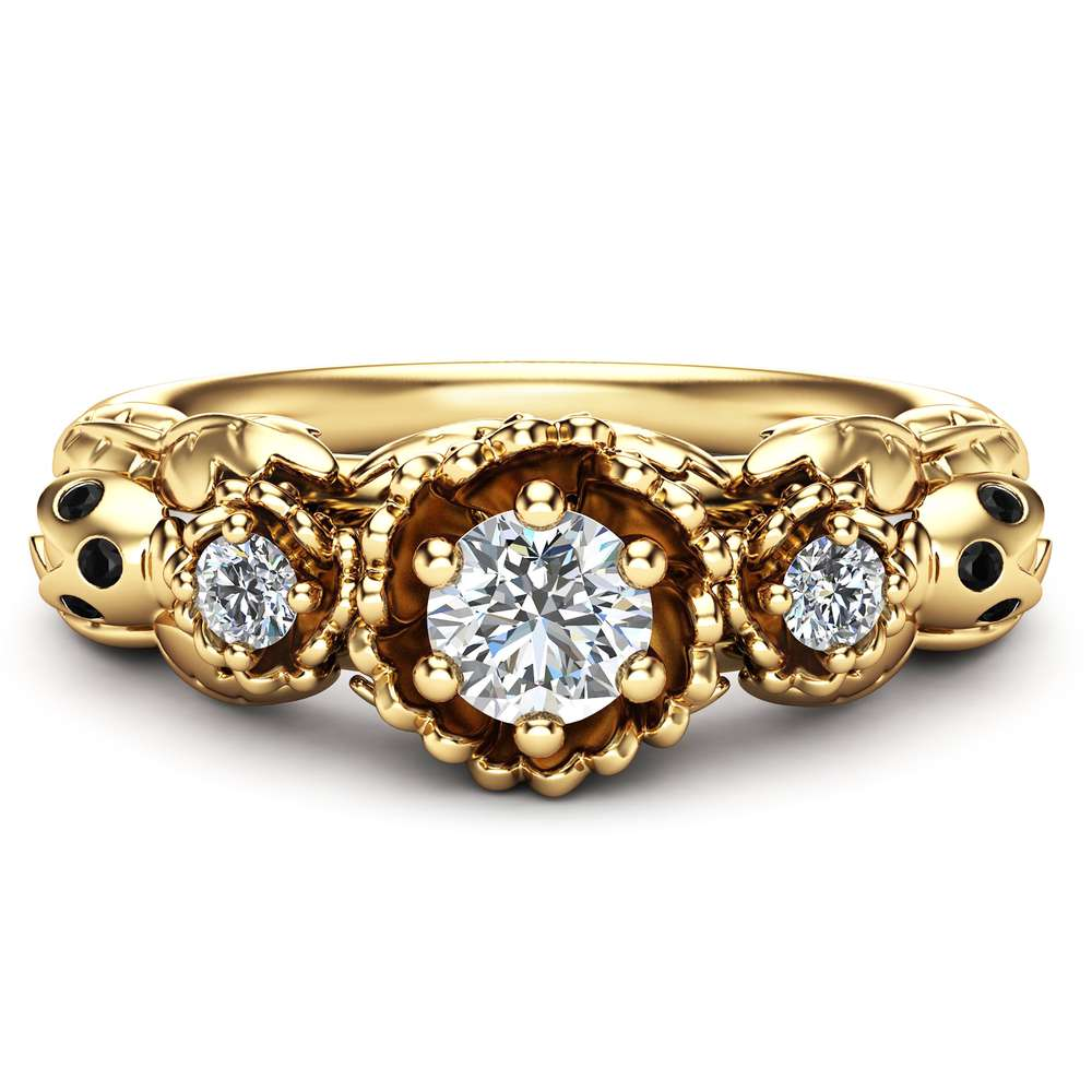 Unique 3 Stone Engagement Ring Flowers and Ladybug Engagement Ring 14K Yellow Gold Diamond Ring Nature Inspired Ring