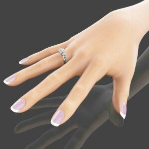 Unique 3 Stone Engagement Ring 14K White Gold Diamond Ring Ladybug and Flower Engagement Ring Nature Inspired Ring