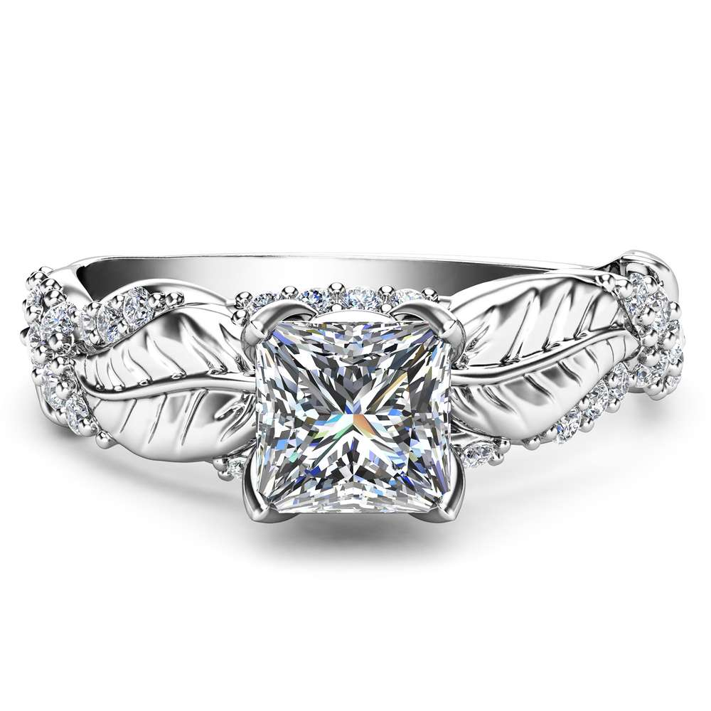 Moissanite Diamond Engagement Ring Princess Cut Promise Ring White Gold Wedding Band Leaf Anniversary Ring