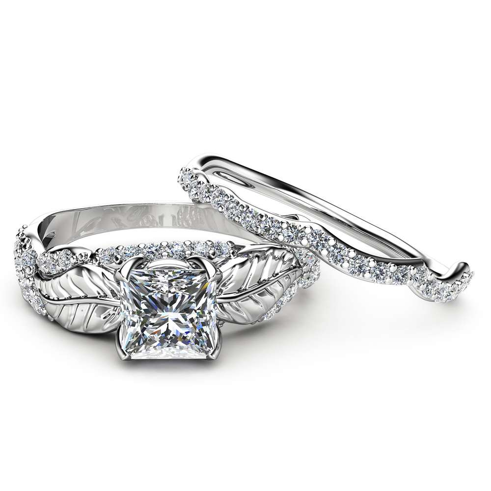 Charles and Colvard Moissanite Ring Set Princess Moissanite Engagement Ring White Gold Leaf Rings Camellia Jewelry