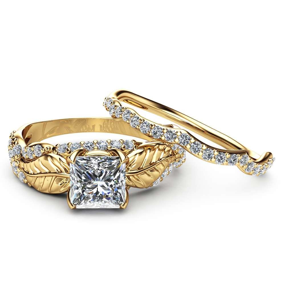 Moissanite Wedding Engagement Ring Set 14K Yellow Gold Wedding Rings Princess Moissanite Engagement Ring