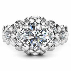 White Gold Moissanite Engagement Ring Floral Ring Art Nouveau Moissanite Ring Anniversary gift