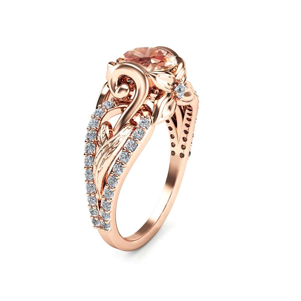14K Rose Gold Morganite Engagement Ring Unique Peach Pink Morganite Ring Wedding Band Engagement Ring Art Deco Styled Ring