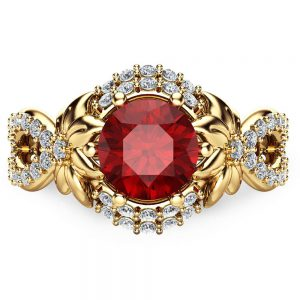 Unique 14K Yellow Gold Ruby Engagement Ring Flower Engagement ring Unique Engagement Ring-Red Ruby Ring