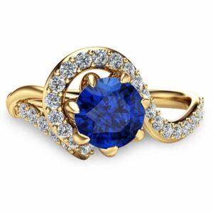 Blue Sapphire Unique Engagement Ring 14K Yellow Gold Engagement Ring Unique Natural Sapphire Ring