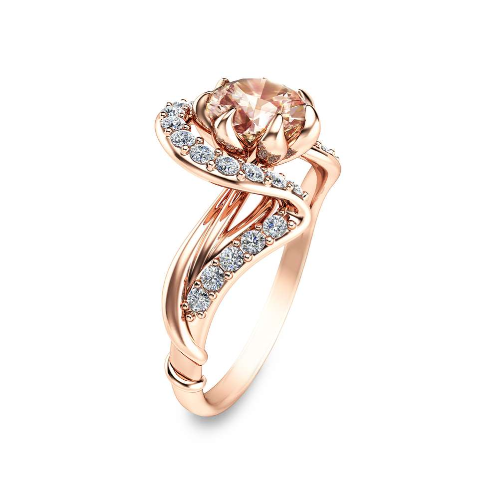 Rose Gold Morganite Engagement Ring Art Nouveau Engagement Ring Flower Design In 14K Rose Gold Pink Morganite and Diamonds