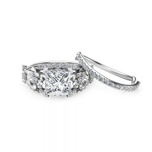 Floral Moissanite Engagement Ring Set Princess Cut Moissanite Ring 14K White Gold Engagement Ring with Matching Band