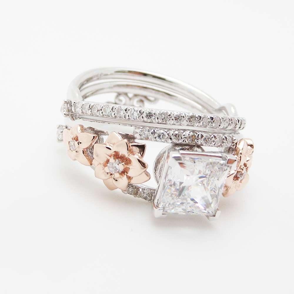 Princess Cut Engagement Rings 14K Solid Gold Princess Diamond Ring Unique Engagement Rings