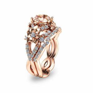 14K Rose Gold Morganite Bridal Set Floral Design Wedding Ring Set Unique Morganite Bridal Set Art Nouveau Styled Engagement Rings