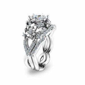 Floral Moissanite Engagement Ring Set 14K White Gold Ring with Matching Band Moissanite Engagement Rings