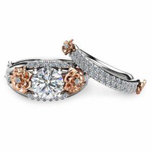 Floral Moissanite Engagement Ring Set 14K Two Tone Gold Rings Unique Moissanite Ring Art Deco Engagement Rings