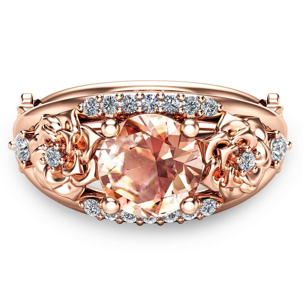 Round Cut Morganite Engagement Ring 14K Rose Gold Morganite Ring Floral Engagement Ring