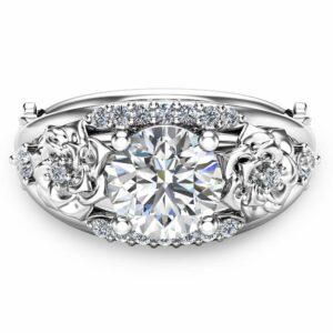 Round Cut Moissanite Engagement Ring 14K White Gold Moissanite Ring Floral Engagement Ring