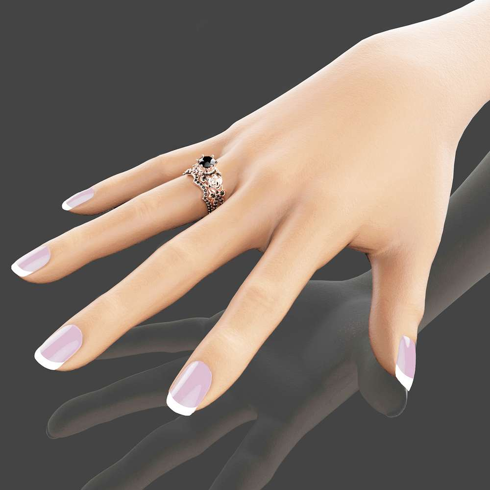 Black Diamond Gold Engagement Ring Set 14k Rose Gold Flower Engagement Rings Unique Natural Black Diamond Rings Camellia Jewelry