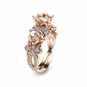 14K Rose Gold Morganite Engagement Ring Unique Morganite Engagement Ring Rose Gold Floral Engagement Ring