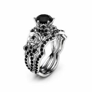 1.25CT Black Diamond Engagement Ring Set 14K White Gold Black Diamond Ring Unique Engagement Ring Wedding Ring