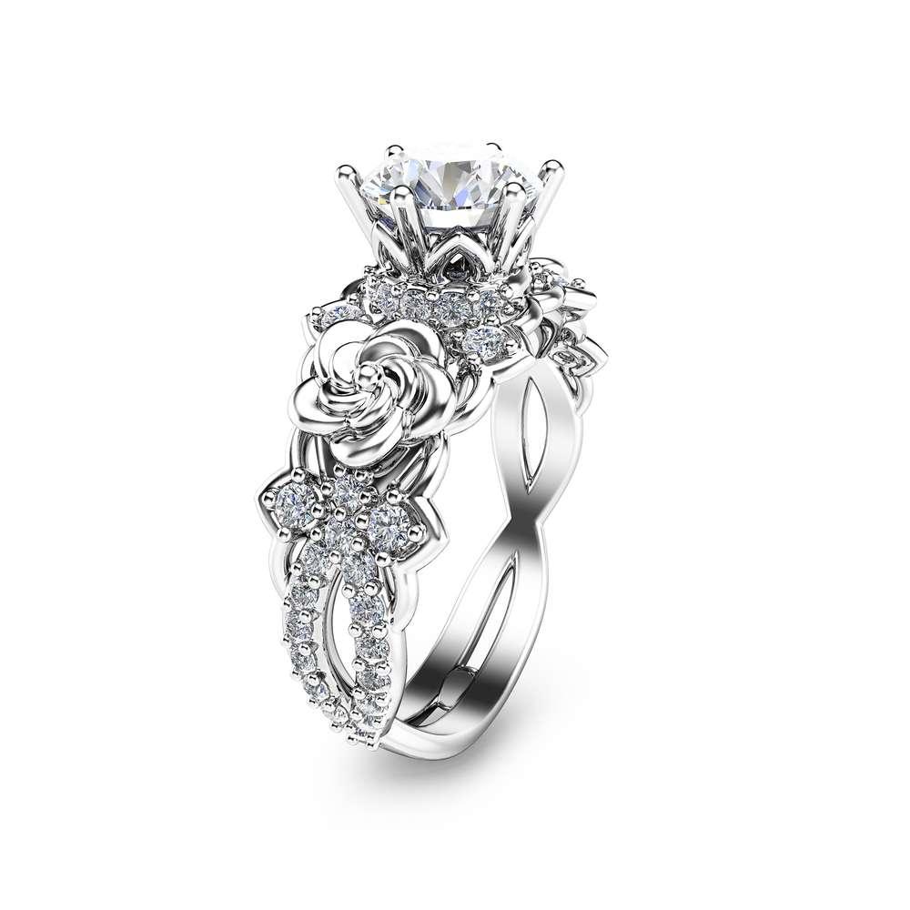 14K White Gold Moissanite Engagement Ring Unique Moissanite Engagement Ring Gold Floral Engagement Ring