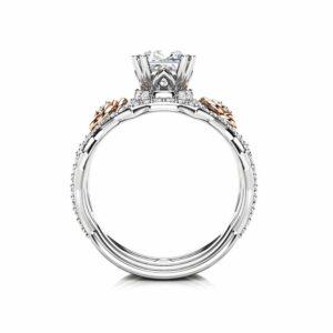 Flower Moissanite Engagement Ring Set Princess Cut Bridal Set 14K White And Rose Gold Rings