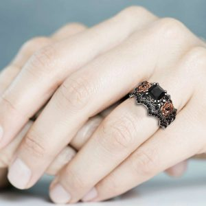 Black Diamond Promise Rings Princess Cut Bridal Set 14K Two Tone Gold Bands Flower Wedding Set
