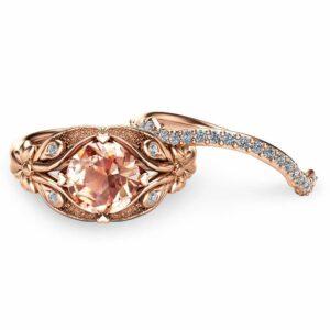 Rose Gold Morganite Bridal Ring Set 14K Rose Gold Flower Engagement Rings Unique Morganite Bridal Rings