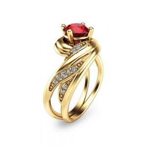 Unique Garnet Engagement Ring Solid 14K Yellow Gold Round Cut Natural Garnet Ring Unique Gold Ring