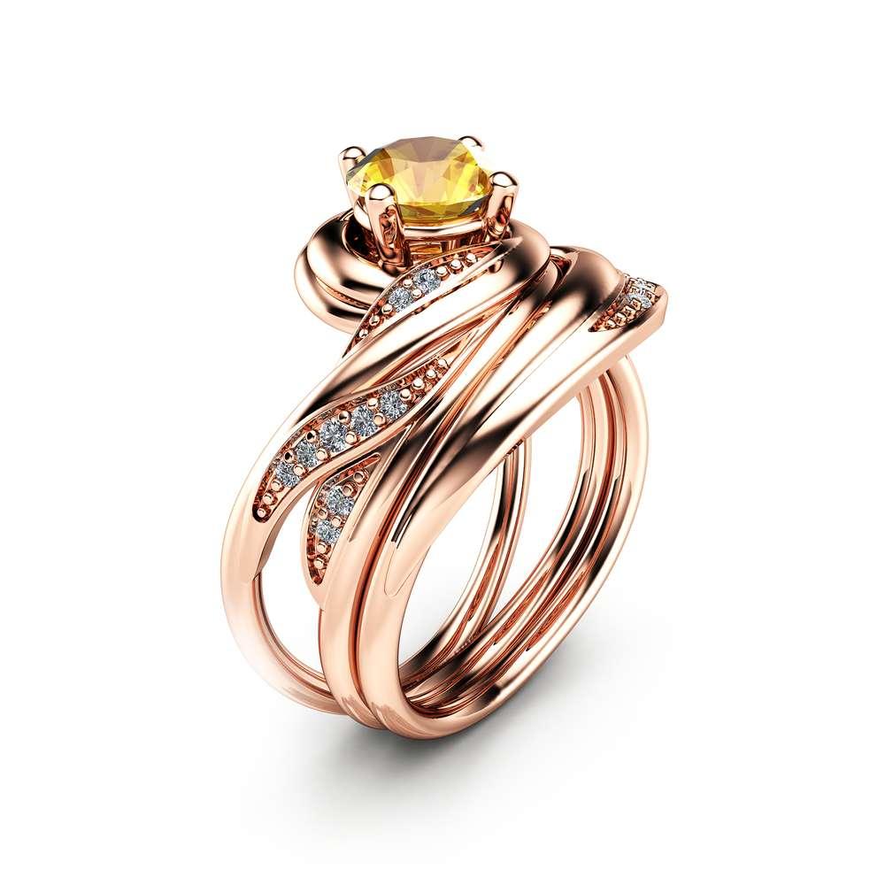 1 CT Yellow Sapphire Engagement Ring Set 14K Rose Gold Rings Natural Sapphire Engagement Rings Choose Your 1 Carat Gemstone Ring