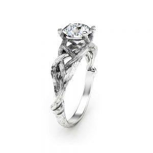 Unique Diamond Engagement Ring 14K White Gold Diamond Ring Natural Branch Gold Ring