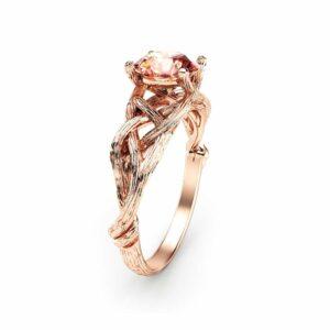 14K Rose Gold Morganite Engagement Ring Rose Gold Branch Ring Unique Morganite Twig Ring