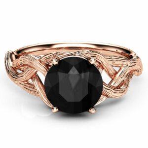4 Carat Black Moissanite Twig Engagement Ring 14K Rose Gold Branch Ring Unique Twig Engagement Ring