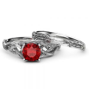 Ruby Twig Engagement Ring Set 14K White Gold Ruby Rings Unique Branch Matching Rings