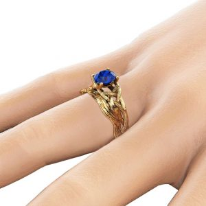 Sapphire Twig Engagement Ring Set 14K Yellow Gold Sapphire Rings Unique Branch Matching Rings