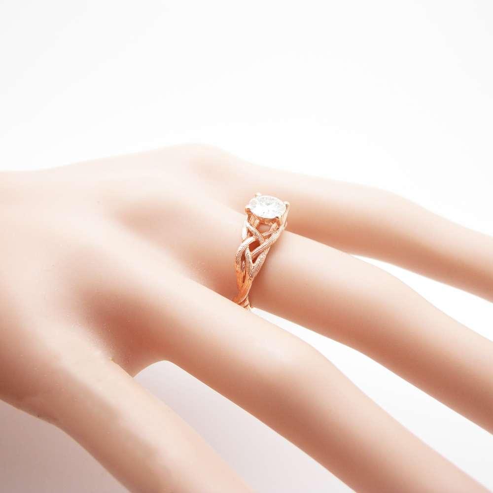 Diamond Twig Engagement Ring 14K Rose Gold Branch Ring Choose Your Diamond Engagement Ring